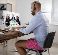 man working remotely